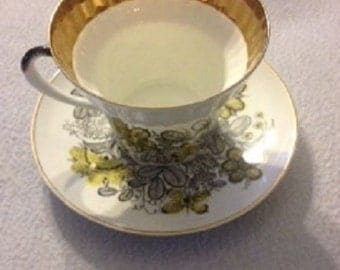 Beautiful VINTAGE USSR  Marked Tea Cup And Saucer set - Great Quality Russian Lomonosov Fine BONE Porcelain. Hand painted in Russia