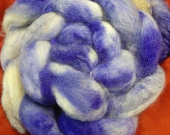 4 oz.  Bluefaced Leicester (BFL) wool roving; Antique Purple