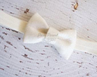 glitter bow headband- glitter headband- newborn - infant glitter bow- silver glitter bow headband- glitter bows- sparkle headband- baby bows