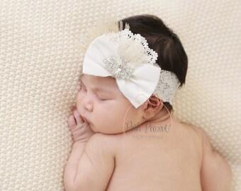 rhinestone baby headband,lace baby headband, Flower girl headband, Rhinestone headband, rhinestone baby headband, crystal headband