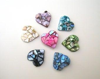 Heart Magnets, beach theme decor, beach wedding favor, valentine gift, gift for women, bridal shower favor, sea shell mosaic heart, set of 3