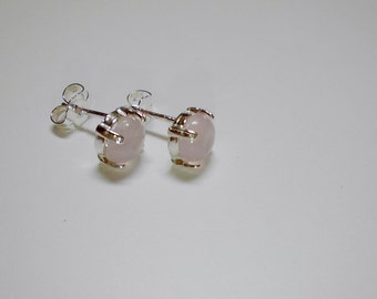 6mm round cabochon Rose Quartz stud earrings