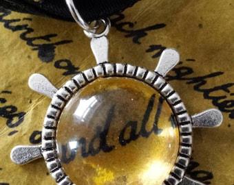 SALE was 16uk now 12uk - Kate Bush - Inspired  - BTD Goldtone Charm Confetti Collection Necklace on Black Velvet Ribbon