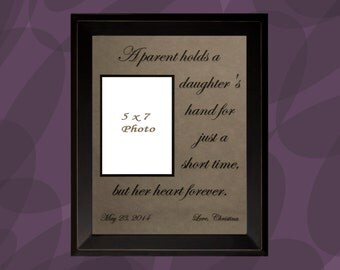 Gift for Parents, Personalized Picture Frame, Wedding Gift for Parents, Parents of the Bride Gift, A parent holds daughters, Love Quotes