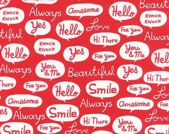 Airmail Greetings in Love Red, Eric and Julie Comstock, Moda Fabrics, 100% Cotton Fabric, 37101 13