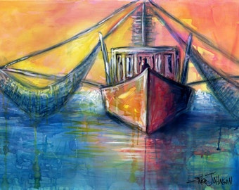 Shrimpin at Sunset-Giclee art reproduction-Shrimp Boat painting-Nautical-Fish Boat-Seafood Industry-Coastal art-Boast art-beach house-ocean