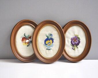 Vintage Oval Framed Crewel Embroideries - Floral Fiber Art