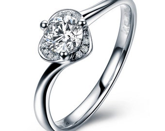 Round Cut Diamond Engagement Ring 14k White Gold or Yellow Gold Art Deco Diamond Ring