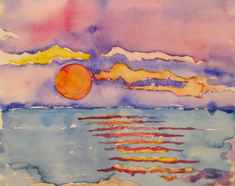 Beach sunset watercolor painting, Original watercolor painting, beach sunset