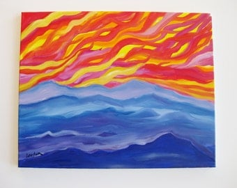 Mountain landscape painting, Original oil painting on wrapped canvas, abstract mountain sunset landscape