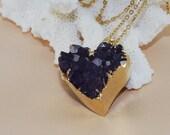 Druzy Necklace Amethyst Heart Druzy Necklace Valentine's Day Gift Trendy February Birthstone