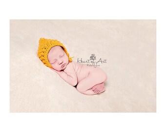 Choose your colour. Crochet knit puff stitch pixie bonnet, hood. Size newborn. Great photo prop.