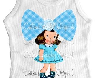 Big Bow tank tee shirt one piece body suit tshirt Vintage inspired childrens tshirt Big Bow