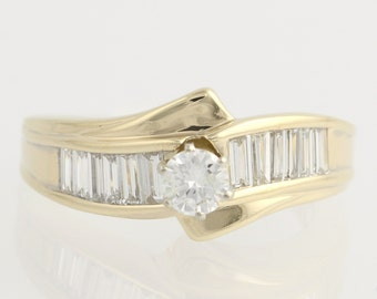 Engagement Ring Diamond Bypass - 14k Yellow Gold Round Solitaire Baguette 1.19tw Unique Engagement Ring F8727