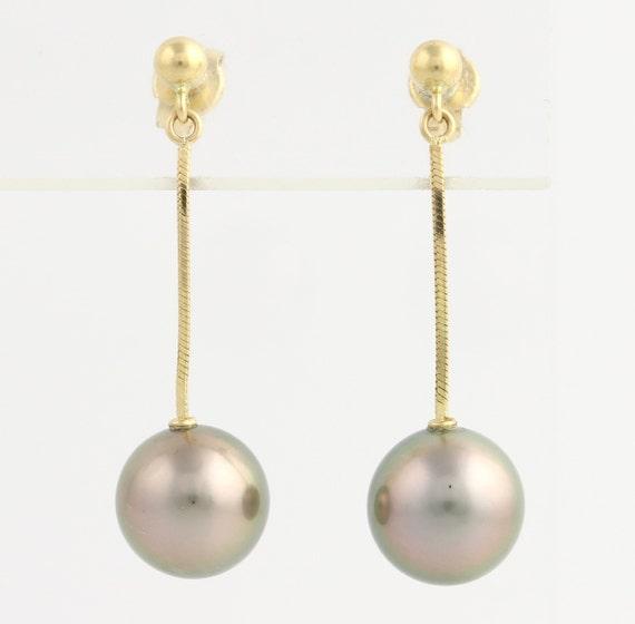 tahitian pearl drop earrings 18k yellow gold by wilsonbrothers