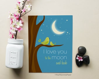 Baby Boy Nursery Art Print, I Love You to the Moon and Back with Green Birds Art Print, Nursery Wall Art Room Poster