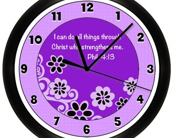 Personalized SCRIPTURE Wall Clock Verse Faith