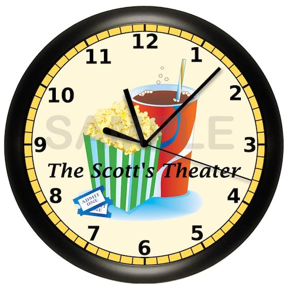 movie night home theater wall clock