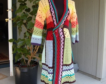 Crochet Multicolor Womans Coat Cardigan Sweater in Size Small