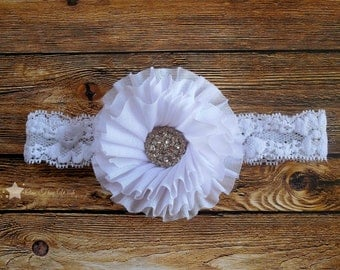 baby headband, white, lace headband, headband, infant headband, newborn headband, baby girl, elastic headband, headband infant, hair clip
