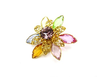 Pastel Glass Flower Brooch, Gold Filigree, Open Back Rhinestone Pin, Daisy Pin, Marquise Shaped, Gold Brooch