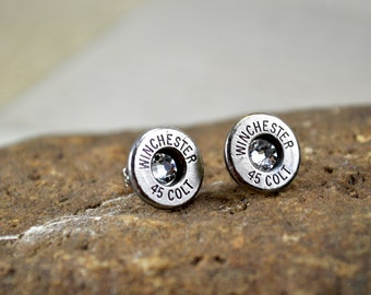 Bullet Earrings Shell Stud Earrings ~ Winchester 45 Colt Bullet Casings Post/Stud Earrings ~ Nickel Plated with Crystals Gems ULTRA THIN
