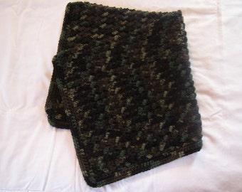 Camouflage Baby Blanket, Baby Afghan, Blanket, Handmade Crochet Afghan, Babies, Children, Baby Shower, Gift Idea for Baby Boy