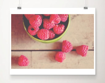 raspberry photograph food photography kitchen wall art fuchsia pink decor still life photograph kitchen decor lime green