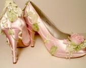 Pink Rose Pumps Wedding Shoes Rose Bud Bridal Heels Fairytale Wedding Shoes Bridal Heels