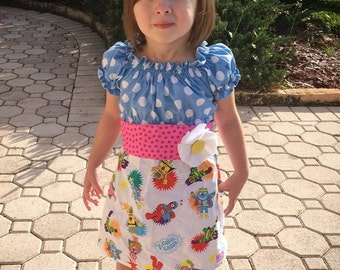 Yo Gabba  Peasant Dress  with sash and flower pin (12os, 18 mos, 2t, 3t. 4t.5t)