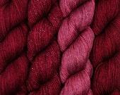 Pre-Order hand dyed yarn DRAMA QUEEN pick your base - sw merino bfl silk nylon stellina fingering dk
