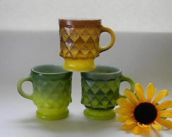 Retro, Green and Gold, Fire King KIMBERLY Coffee Mugs