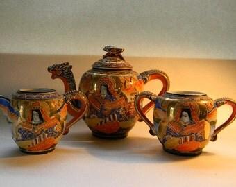 Moriage Dragon, Vintage Teapot, Sugar, Creamer Set