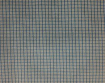 Baby  Blue Cotton Windowpane heirloom fabric