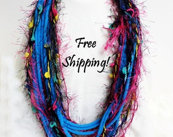 Infinity Scarf Fun Fringe Blue Black Rose Yellow