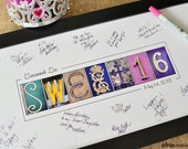 Sweet Sixteen Guest Signing print, Alphabet Photography,  Sweet16 party, party decor