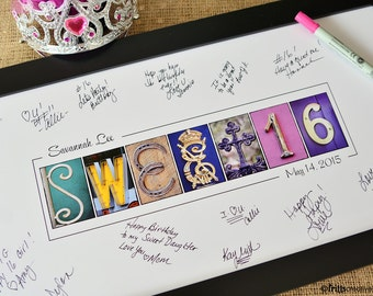 Sweet Sixteen Guest Signing print with Free Personalized Text, Alphabet Photography,  Sweet16 party, party decor