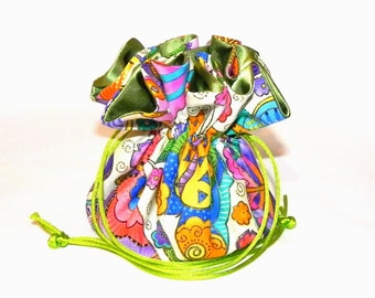 Jewelry Drawstring Travel Bag - Organizer bridal Pouch -  Multicolor Butterflies