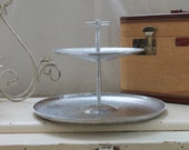 Vintage 2 Tiered Serving Tray - Lovely Hammered & Embossed Aluminium