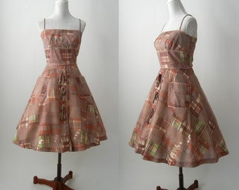 Vintage 50s Dress, 1950s Rockabilly Dress, 1950 Vintage Brown Dress, Vintage 50s Summer Dress, 50s Cotton Summer Dress, Retro 50s Dress