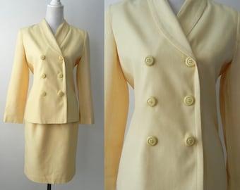 Vintage Suit, 1980s Yellow Suit, 1940s Style Suit, Women's Vintage Yellow Suit, Vintage Skirt Suit, Vintage Yellow Blazer, 80s Jacket, Retro
