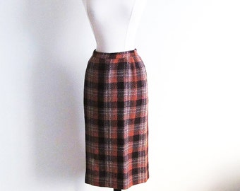 Vintage 50s Plaid Skirt, 1950 Wool Pencil Skirt, Vintage Brown Skirt