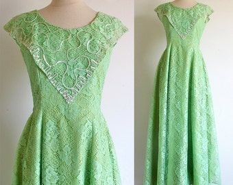 Vintage Green Dress, 60s Prom Bridesmaid Formal, Long Lace Dress, Spring Green Gown