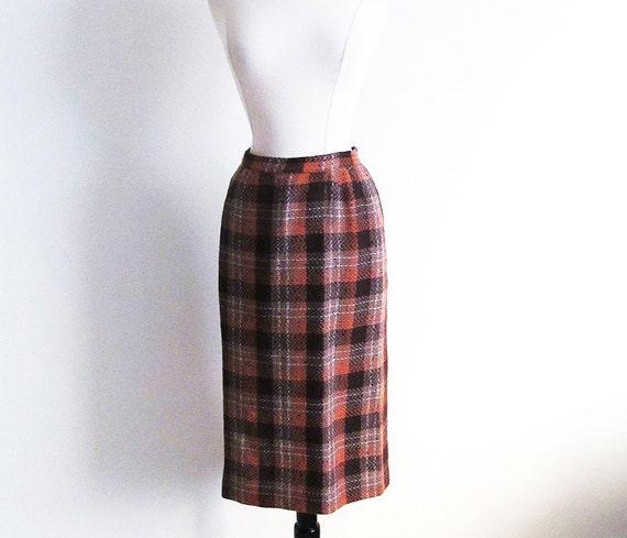 vintage 50s plaid skirt 1950 wool pencil skirt vintage brown