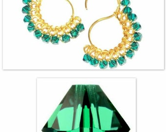 Signature S Earrings with Swarovski  Crystals  in Emerald Green