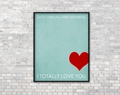 Typographic Poster - Love Print Day Decor Art - Wedding Anniversary Birthday - Digital Art Typography Blue Red