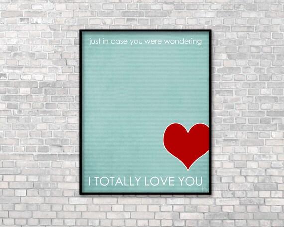 Typographic Poster - Love Print Day Decor Art - Wedding Anniversary Birthday - Digital Art Typography Blue Red
