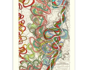 "18x24"" Mighty Meandering Mississippi River Print Sheet 11, Geology, Fisk Maps, River, Map, Art Print, Topography, Cartography, Vintage"