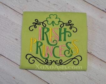 Girls St Patricks Day Irish Princess Embroidered Shirt - St Patricks Day St Pattys Day