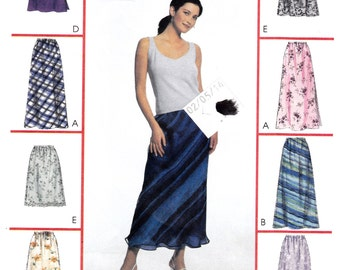 "Feminine Bias Skirt in Two Lengths Overskirt Side Slit Size 12-14-16 Waist 26.5-30"" Hip 36-40"" McCall's 2255 Womens Sewing Pattern"